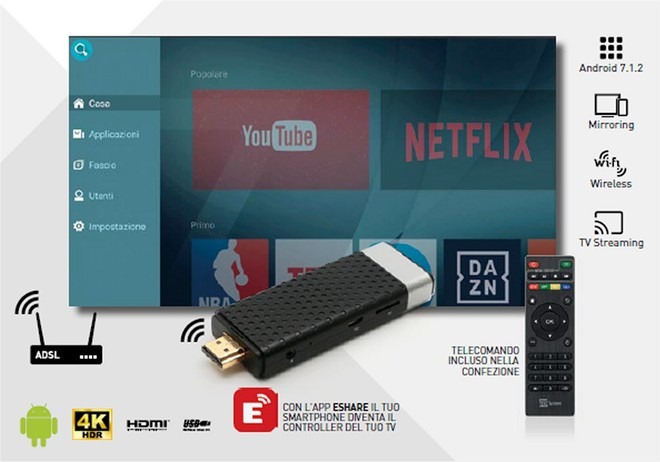 HDMI Android TS UP 4K Stealth dongle with HDR by Telesystem