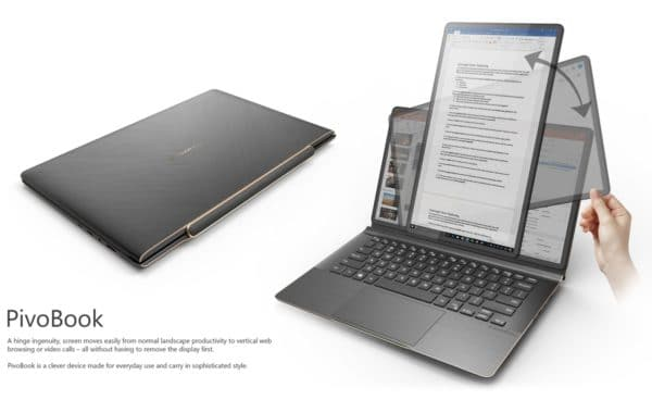 Compal PivoBook, a lightweight laptop with an OLED touch screen that rotates 90 °