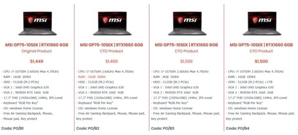 MSI GP75-10SEK Specs and Details