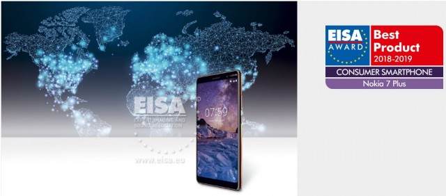 Nokia 7 plus: best consumer smartphone 2018 - 2019 according to EISA